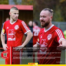 Die roten Trikots werden bei Leon Burggraf und Mirko Dimter bleiben, nur ein anderes Vereinswappen kommt drauf. [Fotos: Fabian Höhn]