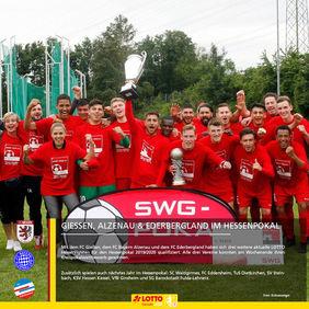 Krönung einer erfolgreichen Saison. Zum Abschluss kann der FC Gießen noch den Kreispokal-Titel feiern. [Foto: Kreisanzeiger]