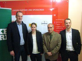 HFV-Präsident Stefan Reuß mit den Landessiegern Sabine Stadler, Aliakbar Rasoul und Kevin Steinmann (v.l.).