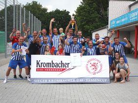 Krombacher Ü40-Hessencupsieger SV Erzhausen qualifizierte sich für den DFB Ü40-Cup in Berlin. Foto: HFV