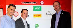 Andre Krebs, Florian Bretschneider (beide 11teamsports) und HFV-Präsident Stefan Reuß (v.l.) freuen sich über die weitere Zusammenarbeit. Foto: HFV