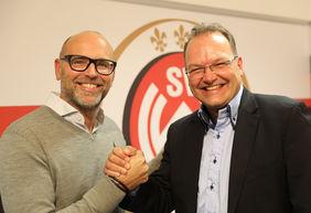 Zusammenarbeit verlängert: der wiedergewählte Vereinspräsident Markus Hankammer (l.) und SVWW-Geschäftsführer Nico Schäfer. Foto: svww.de