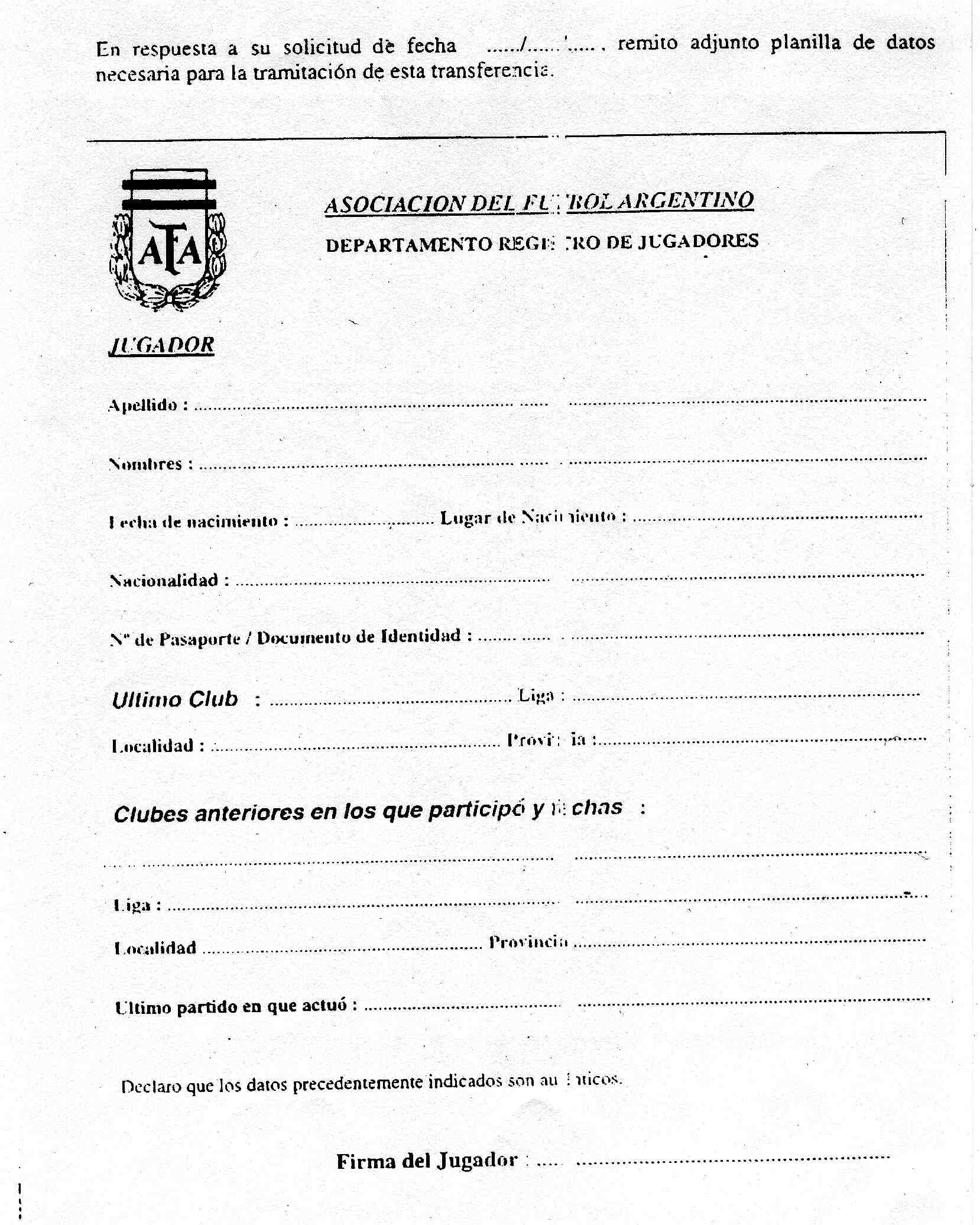 zusatzformular argentinien - Mitgliedsantrag Verein Muster