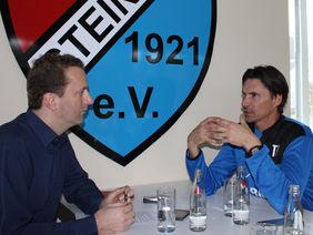 Thomas Brdaric (re.) im Gespräch mit HFV-Öffentlichkeitsreferent Matthias Gast. Foto: Stehling