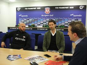 FSV-Trainer Roland Vrabec (li.) und -Sportdirektor Roland Benschneider im Redaktionsgespräch. Foto: Herd