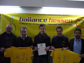 Gemeinsam gegen Rassismus und Gewalt (von links): Jochen Junk (Regionalbeauftragter Gießen-Marburg), Lutz Wagner, Markus Halbrucker, Christoph Heuser und Steffen Rödiger.